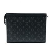 【台中米蘭站】全新品 Louis Vuitton POCHETTE VOYAGE MM 帆布手拿包 (M61692-黑)