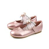 小女生鞋 娃娃鞋 蝴蝶結 粉紅色 金屬光澤 童鞋 99021 no117