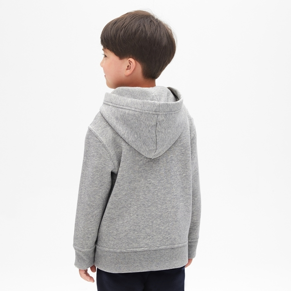 Gap男童 基本款時尚舒適休閒連帽T恤 869631-淺麻灰色