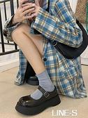 瑪麗珍單鞋女2021厚底增高韓版百搭復古百搭學院英倫風大頭小皮鞋