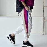 休閒時尚運動褲 撞色拼接衛褲 束腳燈籠褲女/2色-夢想家-K9993C-0305