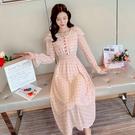 VK精品服飾 韓國風收腰顯瘦氣質紅釦波點...