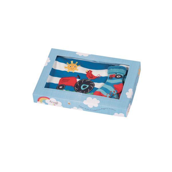 【英國Frugi】有機棉彌月禮盒 - 農場好朋友系列(長袖連身衣+圍兜+襪子)三件組 GSS601DIP