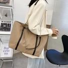 牛津包 牛津布大容量側背大包包2021新款網紅尼龍布手提包鍊條包托特包女 韓國時尚 618