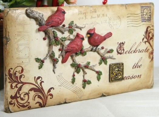 郵戳紅鳥圖案擺設鳥語花香