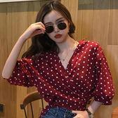 EASON SHOP(GU7888)實拍純色圓點點胸口交叉腰間綁帶雪紡V領泡泡袖七分袖襯衫女上衣服薄款短版內搭衫