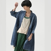 單寧夾克中長版-潮流立領修身顯瘦女牛仔外套72m29[巴黎精品]