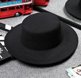 紳士帽休閒黑色明星同款禮帽復古紳士英倫風平頂平沿毛呢男女帽子【快速出貨八折優惠】