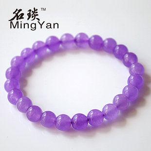 水晶淡紫玉髓8mm手鏈 美麗優雅女人
