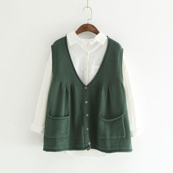 背心 韓雙口袋娃娃風可愛開扣背心 米色 黑色 綠色