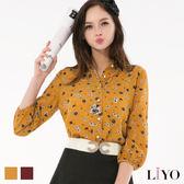 LIYO理優蕾絲領滿版印花襯衫E715006