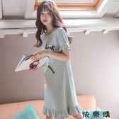 女士短袖睡裙韓版甜美全棉薄款家居服