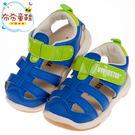 《布布童鞋》BABYVIEW頂級皮質寶藍色兒童運動護趾涼鞋(14~18公分) [ O8L12BB ]