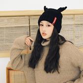 甜美可愛保暖帽子針織毛線帽女冬季鹿角加絨加厚冬天月子後秋冬