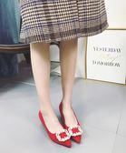 全館一件優惠-低跟涼鞋新品水?女鞋紅色高跟鞋新娘鞋結婚鞋子尖頭低跟鞋女細跟3cm ?色34-39