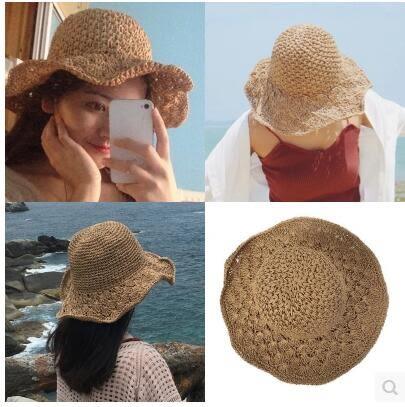 女夏韓版可折疊手工百搭小清新海邊度假防曬遮陽帽PLL3830【男人與流行】