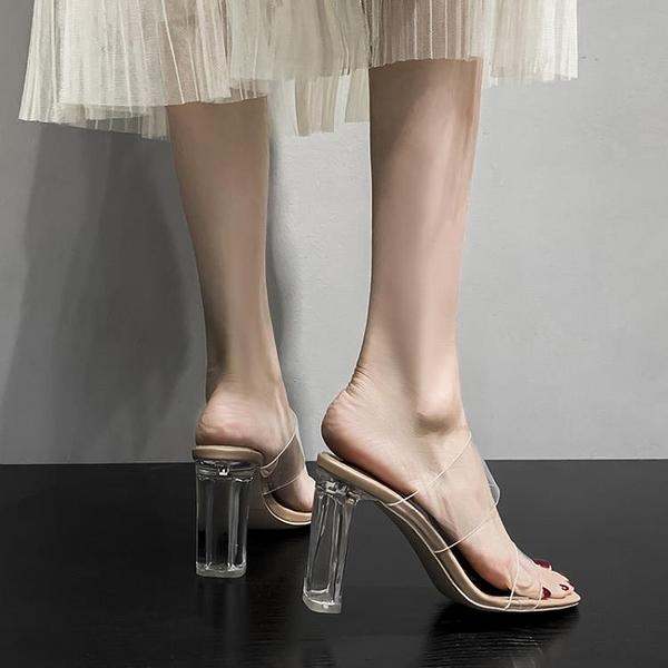 透明高跟鞋女涼鞋性感粗跟涼拖中跟水晶拖鞋外穿【慢客生活】