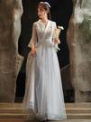 仙女風伴娘服漢服春秋長袖2021新款中式禮服女姐妹團婚禮顯瘦大碼中國風連身裙小洋裝