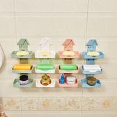 柏家創意田園風格吸盤雙層瀝水皂盒靜電貼式洗衣皂架免打孔 芥末原創