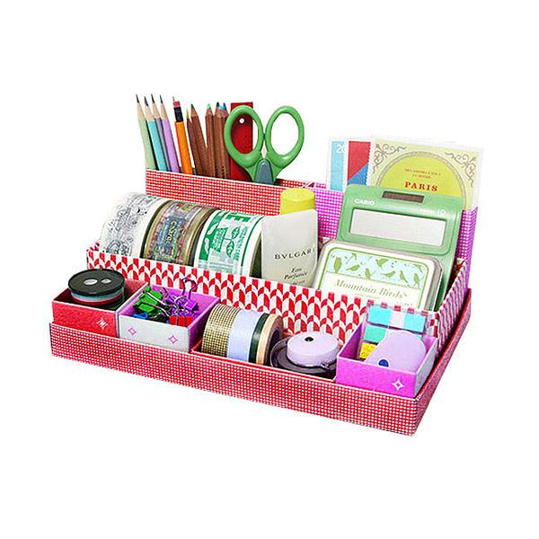 【創意小物】DIY 可愛桌面7分格收納盒 / 置物盒-紅色 (免運)