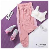 Catworld 側透色網眼鬆緊腰縮口運動褲【12001927】‧S-XL