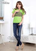 Victoria 星星條紋印花TEE-女-螢光綠