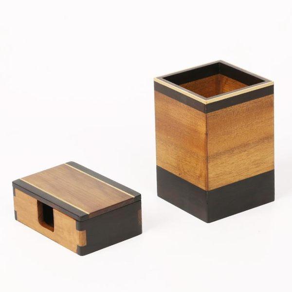 [超豐國際]黑檀木金絲楠黃銅筆筒 紅木名片盒 實木質中式創意1入