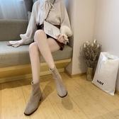 粗跟靴秋冬季新款短靴韓版中跟方頭套腳彈力靴裸靴加絨女靴子 伊衫風尚