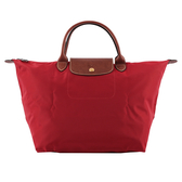 【LONGCHAMP】M號正紅色短把M號 摺疊水餃包 1623089545