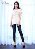 Victoria  化妝品印圖落肩短袖T-女-白色
