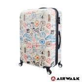 美國AIRWALK LUGGAGE - 【禾雅】滿版郵戳系列 可加大 登機箱行李箱-20吋-白