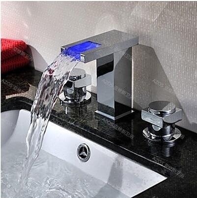 雙把美式瀑布面盆水龍頭衛生間浴室雙把洗臉臺盆分體龍頭冷熱全銅(四方型方形款)