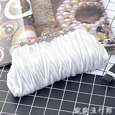 晚宴包 2021新款褶皺百搭晚宴會名媛手拿包旗袍禮服包新娘白色溫柔風包包 歐歐
