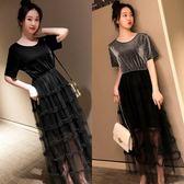 海外直發不退換法式洋裝禮服9939#夏裝洋氣新款大碼網紅遮肚中長款減齡顯瘦連衣裙(M3F 特1-A)
