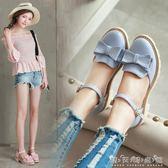 夏季甜美少女蝴蝶結可愛包頭女鞋子時尚低跟休閒扣帶防滑學生涼鞋 晴天時尚館