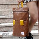 皮革雙袋後背包 咖啡色 AMINAH~【am-0247】