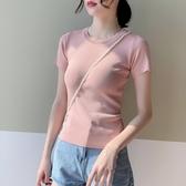 針織上衣冰絲針織T恤女夏季薄款短袖素色韓版百搭圓領打底衫修身顯瘦上衣 JUST M