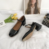 高跟皮鞋女時尚韓版百搭英倫風粗跟單鞋【小酒窩服飾】