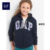 Gap女孩 LOGO系列拉鏈連帽休閒外套 869650-藏青色