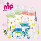 寬口玻璃奶瓶》nip德國防脹氣玻璃奶瓶旗艦組-圓形奶嘴-男生款 G-NIP-G1-W