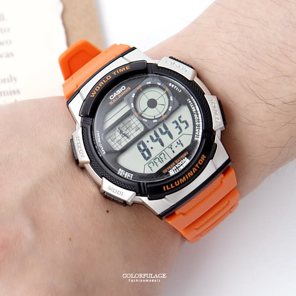 CASIO卡西歐世界時間橘色膠錶 柒彩年代【NEC47】