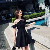 夏季韓版夜店洋裝顯瘦性感露肩荷葉邊抹胸黑裙大擺裙女 全館免運