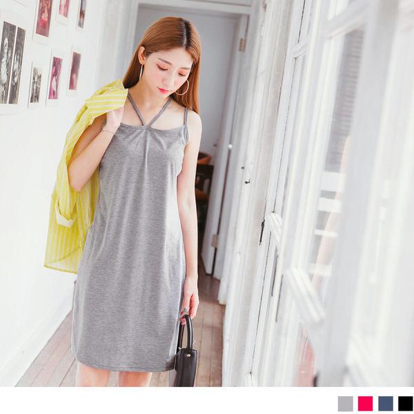 OrangeBear《DA4695》質感素色肩帶造型棉感洋裝.4色