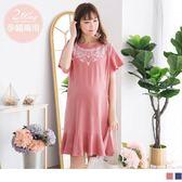 《MA0153-》高含棉民俗風印花魚尾哺乳洋裝 OB嚴選