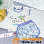 兒童短袖T恤夏季薄款小寶寶家居服女童可愛卡通圖案純棉睡衣組合裝【小桃子】