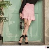 臧芮軒。細緻蕾絲刺繡不規則拼接波浪魚尾短裙 OrangeBear《CA2123》