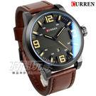 CURREN 大數字時刻 時尚潮流皮革腕錶 男錶 日期視窗 咖啡x黑 CU8241咖 軍錶 大錶面 大錶盤