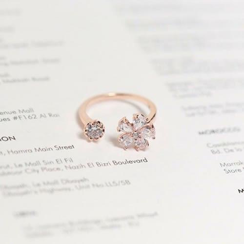 【NiNi Me】韓系戒指 氣質甜美微鑲鋯石小雛菊花朵開口式戒指 戒指 F0021