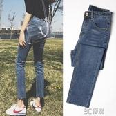 牛仔褲女春裝2020新款韓版顯瘦高腰泫雅加絨闊腿九分寬鬆直筒褲子 3C優購