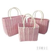 粉色出口手提籃購物籃買菜籃雞蛋籃洗浴籃大中小籃 yu4405【艾菲爾女王】